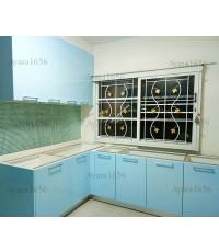 ชุดครัว Built-in ตู้ล่าง โครงซีเมนต์บอร์ด หน้าบาน Hi Gloss สีฟ้าอ่อน ส้ม ชมพู