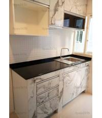ชุดครัว Built-in ตู้ล่าง โครงซีเมนต์บอร์ด หน้าบาน Laminate ลายหินอ่อน