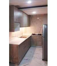 ชุดครัว Built-in ตู้ล่าง โครงซีเมนต์บอร์ด หน้าบาน Laminate สี Concrete Formwood