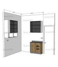ชุดครัว Built-in ตู้ล่าง โครงซีเมนต์บอร์ด หน้าบาน Melamine สีคาปูชิโน่