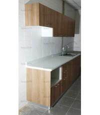 ชุดครัว Budget Kit ตู้ล่างใต้ Sink โครงซีเมนต์บอร์ด หน้าบาน Melamine สีคาปูชิโน่ - 240A ขนาด 2.40 เม