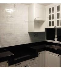 ชุดครัว Built-in ตู้ล่าง โครงซีเมนต์บอร์ด หน้าบาน PVC สีขาวด้าน เซาะร่อง - ม.พฤกษ์ลดา