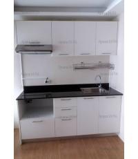 ชุดครัว Budget Kit ตู้ล่างใต้ Sink โครงซีเมนต์บอร์ด หน้าบาน Melamine สีขาวด้าน - 180A ขนาด 1.80 เมตร