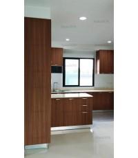 ชุดครัว Built-in ตู้ล่าง + ตู้สูงท่อนล่าง โครงซีเมนต์บอร์ด หน้าบาน Laminate สี Oiled Legno