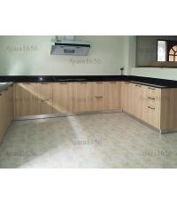 ชุดครัว Built-in ตู้ล่าง โครงซีเมนต์บอร์ด หน้าบาน Laminate สี Beige Oak
