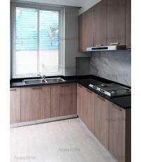 ชุดครัว Built-in ตู้ล่าง โครงซีเมนต์บอร์ด หน้าบาน Laminate สี Olive Afromosia