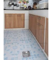 ชุดครัว Built-in ตู้ล่าง โครงซีเมนต์บอร์ด หน้าบาน Laminate สี Sand Oak - ม.พฤกษาวิลล์