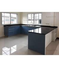 ชุดครัว Built-in ตู้ล่าง โครงซีเมนต์บอร์ด หน้าบาน Laminate สี China Blue