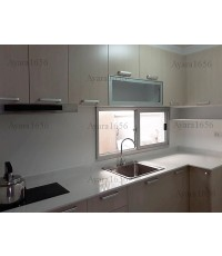 ชุดครัว Built-in ตู้ล่าง โครงซีเมนต์บอร์ด หน้าบาน Melamine สี Ash  - ม.Town Plus