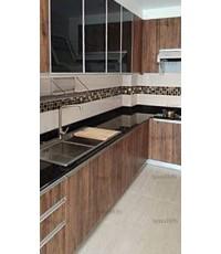 ชุดครัว Built-in ตู้ล่าง + ตู้สูงด้านล่าง โครงซีเมนต์บอร์ด หน้าบาน Melamine สี Loft Golden Oak