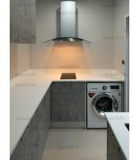 ชุดครัว Built-in ตู้ล่าง โครงซีเมนต์บอร์ด หน้าบาน Laminate สี Elemental Concrete-ม.The Plant Resort