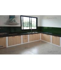 ชุดครัว Built-in ตู้ล่าง โครงซีเมนต์บอร์ด หน้าบาน Melamine สี Light Walnut