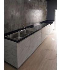 ชุดครัว Built-in ตู้ล่าง โครงซีเมนต์บอร์ด หน้าบาน Melamine สี Mable ลายหินอ่อน