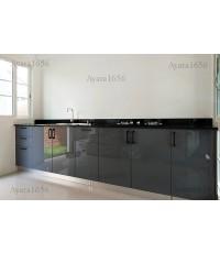 ชุดครัว Built-in ตู้ล่าง โครงซีเมนต์บอร์ด หน้าบาน Hi Gloss สีเทาเข้ม
