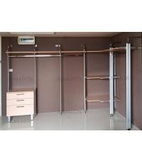 Walk In Closet - L Shape หน้าบานเมลามีน สี White Oak