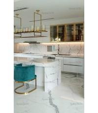 ชุดครัว Built-in ตู้ล่าง โครงซีเมนต์บอร์ด หน้าบาน Melamine ชุดA สีขาวด้าน + ชุด B Classic Walnut