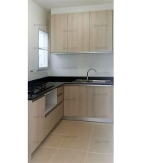 ชุดครัว Built-in ตู้ล่าง โครงซีเมนต์บอร์ด หน้าบาน Melamine สี Elm ลายไม้