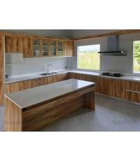 ชุดครัว Built-in ตู้ล่าง โครงซีเมนต์บอร์ด หน้าบาน Melamine สี Pine ลายไม้