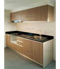 ชุดครัว Built-in ตู้ล่าง โครงซีเมนต์บอร์ด หน้าบาน Melamine สี Nordle Maple ลายไม้