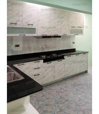 ชุดครัว Built-in ตู้ล่าง โครงซีเมนต์บอร์ด หน้าบาน Melamine สี Mable