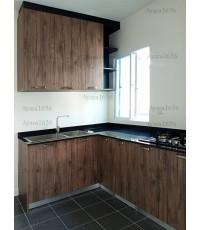 ชุดครัว Built-in ตู้ล่าง โครงซีเมนต์บอร์ด หน้าบาน Melamine สี Woodland Oak - ม.Perfect Park