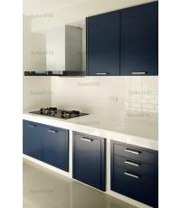 ชุดครัว Built-in ตู้ล่าง โครงซีเมนต์บอร์ด หน้าบาน Laminate สี Navy Blue