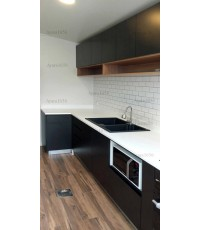 ชุดครัว Built-in ตู้ล่าง โครงซีเมนต์บอร์ด หน้าบาน Melamine สีดำ - ม.คาซ่า ซิตี้