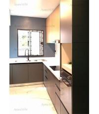 ชุดครัว Built-in ตู้ล่าง โครงซีเมนต์บอร์ด หน้าบาน พ่นสีเทาด้าน