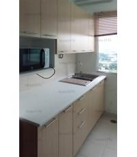 ชุดครัว Built-in ตู้ล่าง โครงซีเมนต์บอร์ด ใต้ซิงค์ หน้าบาน Melamine สีเมเปิ้ล
