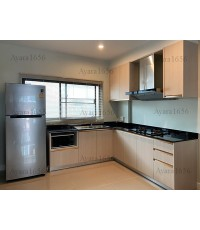 ชุดครัว Built-in ตู้ล่าง โครงซีเมนต์บอร์ด หน้าบาน Melamine สี Rijeka Oak