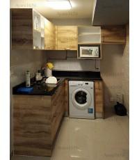 ชุดครัว Built-in ตู้ล่าง โครงซีเมนต์บอร์ด หน้าบาน Melamine สี Pine