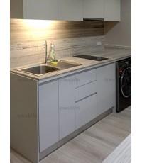 ชุดครัว Built-in ตู้ล่าง โครงซีเมนต์บอร์ด หน้าบาน Melamine สีเทา