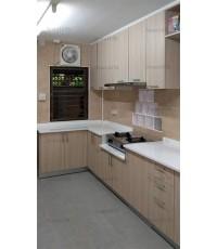 ชุดครัว Built-in ตู้ล่าง โครงซีเมนต์บอร์ด หน้าบาน Laminate สี Alabaster Oak