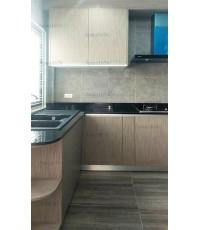 ชุดครัว Built-in โครงซีเมนต์บอร์ด หน้าบาน Laminate สี Sarum Strand