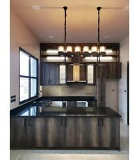 ชุดครัว Built-in โครงซีเมนต์บอร์ด หน้าบาน Laminate สี Canyon Monument Oak