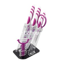 GetZhop ชุดมีดเซรามิก Ceramic knife Set อุปกรณ์อื่นๆรวม 6 ชิ้น ลวดลายดอกไม้ (สีม่วง)