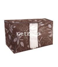 GetZhop กล่องเก็บของ กล่องใส่ผ้า กล่องอเนกประสงค์ - สีน้ำตาลลายดอกไม้