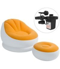 GetZhop โซฟาเป่าลม และ เบาะวางขา Intex (สีขาว/ส้ม) พร้อม เครื่องสูบลม