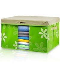 GetZhop กล่องผ้าเอนกประสงค์ กล่องเก็บของ แบบแข็ง ลายดอกไม้ (Size L) – สีเขียว