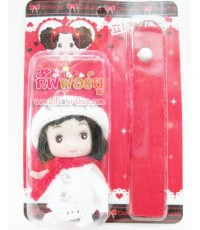 ตุ๊กตาแขวนโทรศัพท์มือถือ สาวน้อยใส่หมวกไหมพรม-ชุดแดง