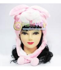 หมวกแฟนซี หัวกระต่าย (สีชมพู)