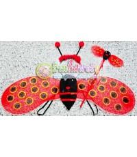 1 เซ็ต 3 ชิ้น สีแดงดำ ปีกเต่าทอง ปีกผึ้งน้อย+ที่คาดผม+คฑา ทำจากผ้าใยบัว ครบเซ็ต