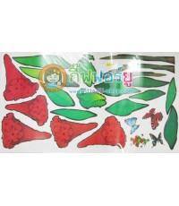 สติกเกอร์ติดฝาผนัง DIY ลายดอกไม้สีแดง YJC-094