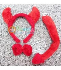 ที่คาดผม+โบว์+หาง Devil (สีแดงผ้าขน)