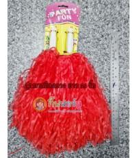 พู่เชียร์กีฬา-พลาสติกกลาง (สีแดง)