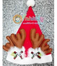 หมวกซานตาครอส เขากวางเรนเดียร์ (สีน้ำตาล)