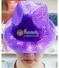 1 ใบ สีม่วง หมวกไมเคิล หมวกติดเลื่อม หมวกปักเลื่อม หมวกแฟนซี ไมเคิลแจ็คสัน michael jackson