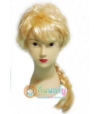 1 อัน สีทอง ผมม้า วิกเอลซ่า วิกเจ้าหญิงโฟรเซ่น วิกผมแฟนซี วิกถักเปีย วิกคอสเพล Frozen Elsa wig