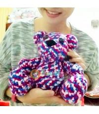 ตุ๊กตาถักไหมพรม น้องหมีทูโทน-ม่วงบานเย็น 12 นิ้ว (ตัวนี้พร้อมส่ง)