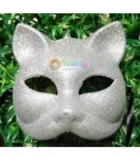 หน้ากากแฟนซี หน้าแมว (สีเงิน)